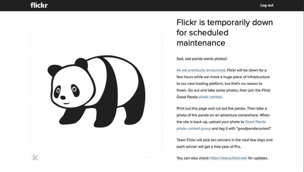 Flickr、大規模メンテナンスダウン。パンダを撮れと
