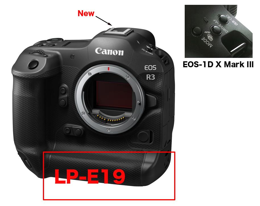 EOS R3 は LP-E19 そしてメニューボタンは